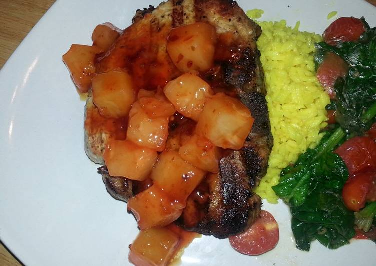 Simple Way to Make Homemade Grilled center cut pork chop with sweet&sour pineapples, saffron rice and garlic spinach tomato saut