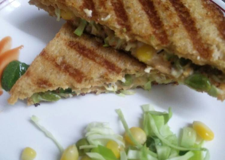 Grilled Brown Bread Cheesey and Spicy Mayonnaise Sandwich