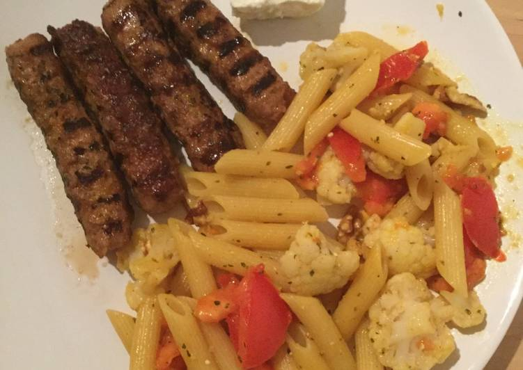 Hungry late lunch... Kebabs with penne pasta