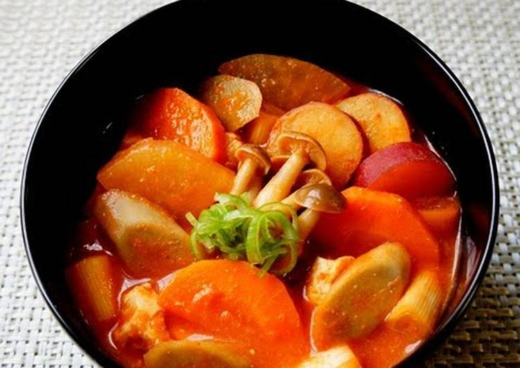 Fall Vegetable Kenchin Soup with Tomato and Miso