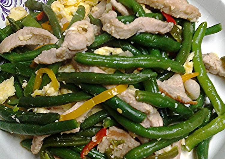 Green bean pork stir fry