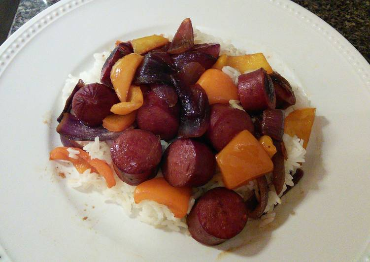 Polish Sausages With Onions and Sweet Peppers