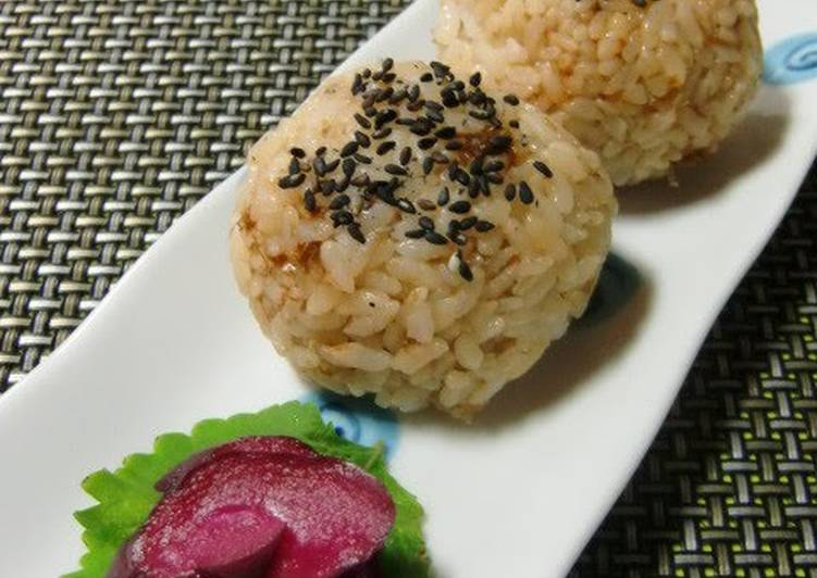 Steps to Make Ultimate Rice Balls with Soy Sauce, Bonito Flakes and Sesame Salt
