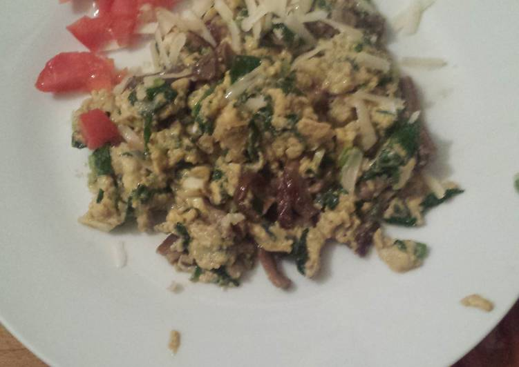 Eggs with Baby Spinach and Mushrooms