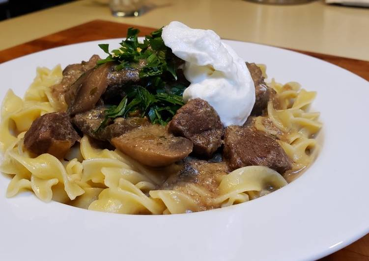 Easiest Way to Prepare Appetizing Beef Stroganoff Over Buttered Noodles