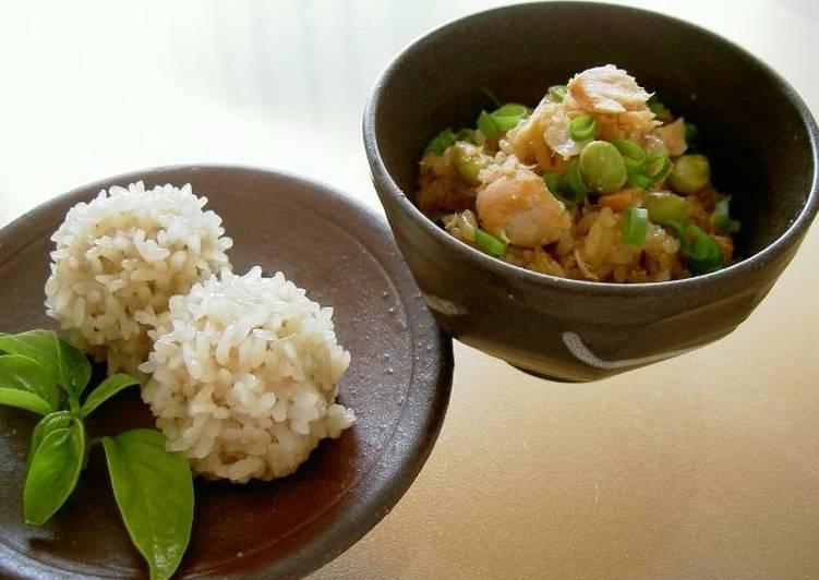 Recipe of Speedy Shumai Dumplings and Okowa Rice in One Rice Cooker