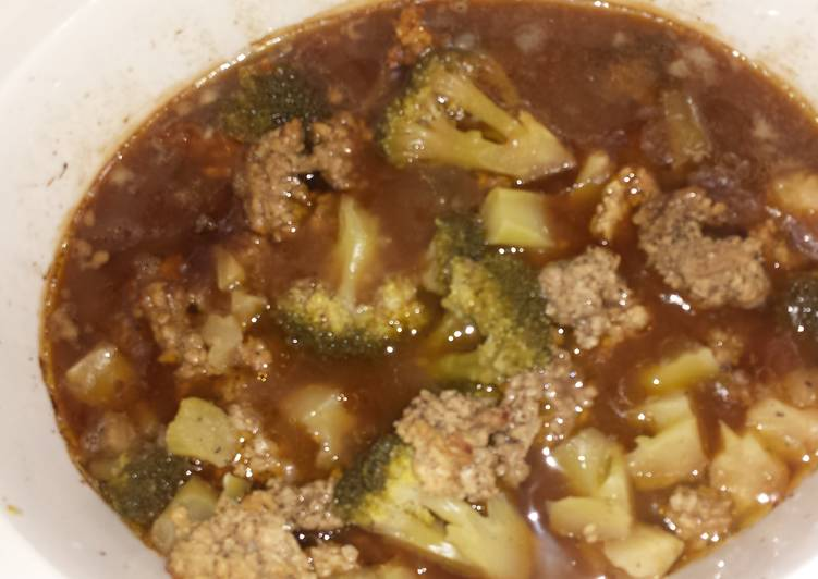 Cube steak and brocolli dish