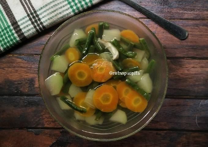 sayur bening (kacang panjang, labu siam, wortel) - resepenakbgt.com