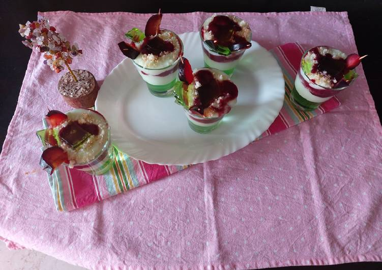 Simple Way to Make Award-winning Pista custard with banana jelly & plum jam