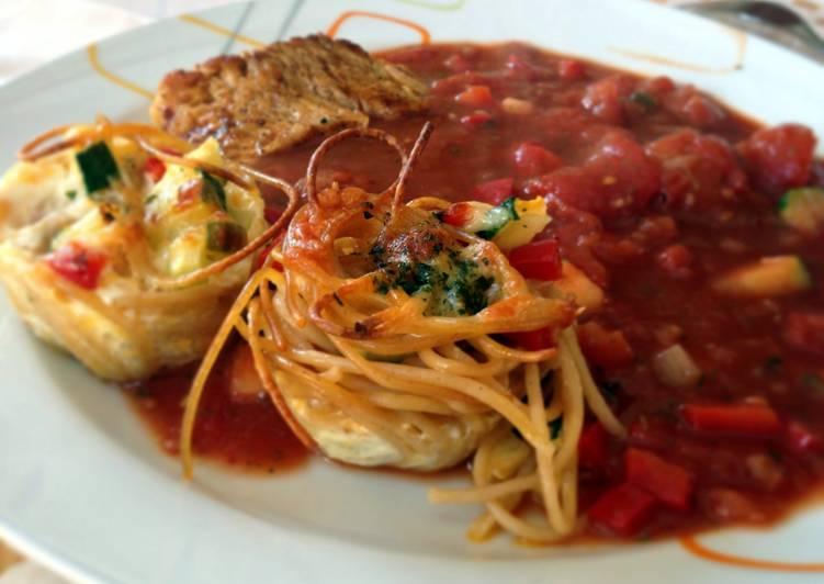 Easiest Way to Make Super Quick Homemade Pasta Nests With Mediterranean Veggies