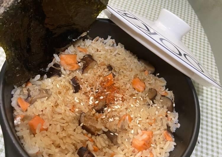 Claypot Salmon Shitake Mushroom 🍄 Rice