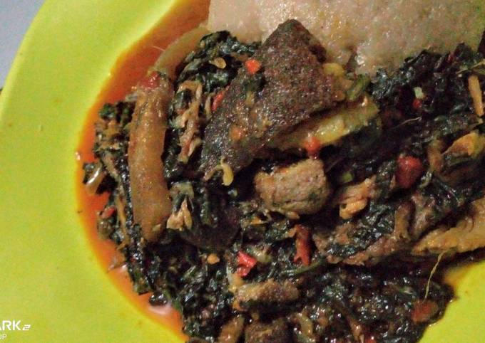 Efo riro (vegetable soup)