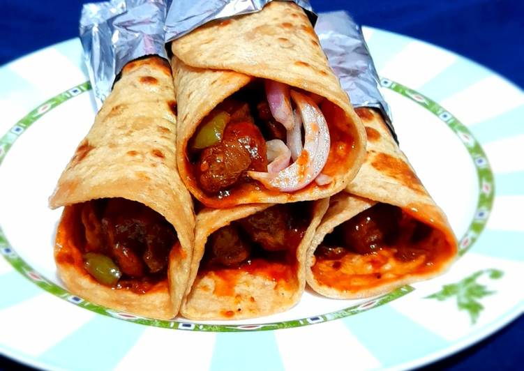 Steps to Prepare Any-night-of-the-week Soya Chilli Kathi Roll
