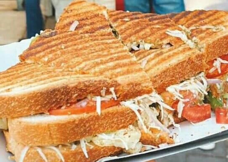 Grilled three layer sandwich
