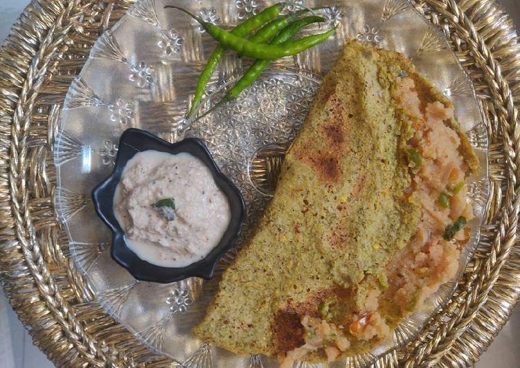 Recipe of Any-night-of-the-week Upma Pesarattu - Green Moong Dosa