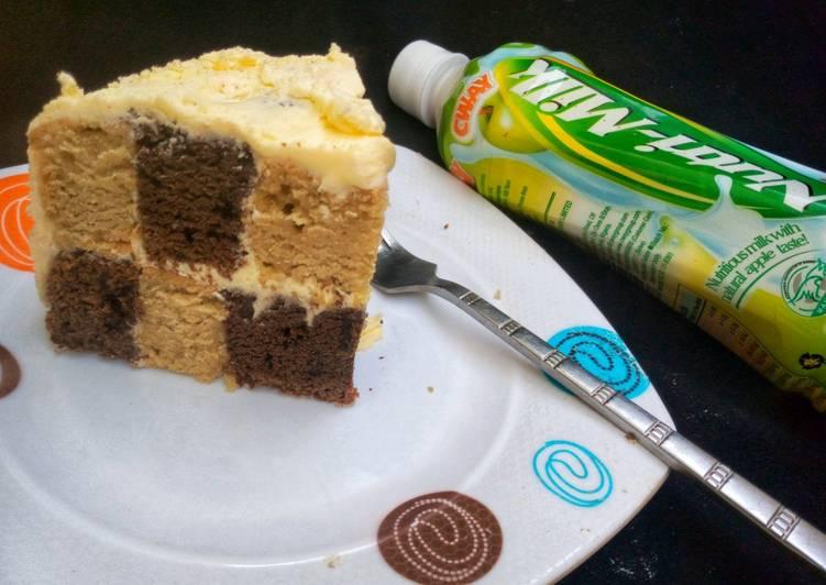 Vanilla chocolate checker board cake