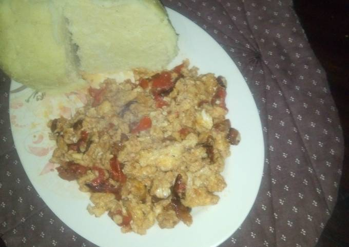 Ugali and fried eggs