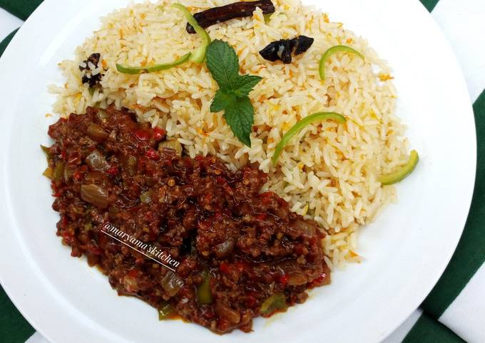 Nigerian carrot fried rice with minced meat soup