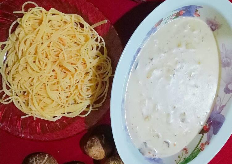 Spaghetti cabonara cendawan #FayeKusairi - velavinkabakery.com