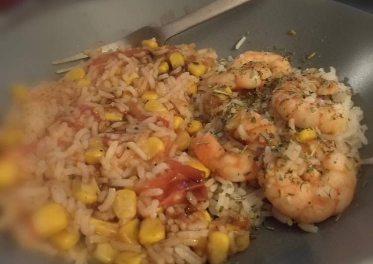 Crevettes, riz, maïs, tomates