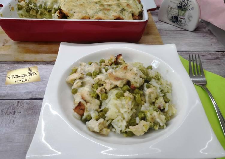 Glutén és tejmentes zöldborsós ragu rizzsel recept foto