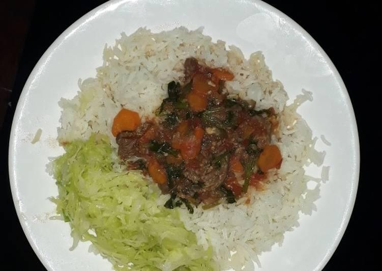 Rice,Cabbage,Meat Stew#festivedishcontestkakamega#authormarathon