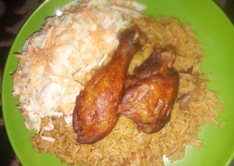 Easiest Way to Make Ultimate Jollof Rice, coslow and fried chicken