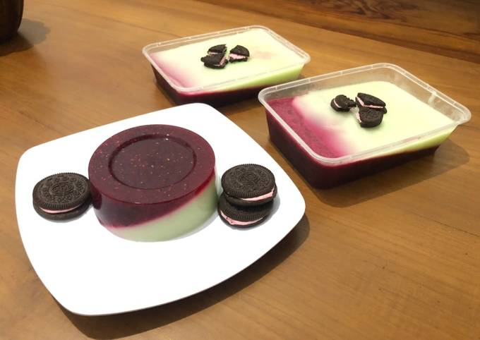Pudding buah naga merah lapis pudding susu melon pengganti fla
