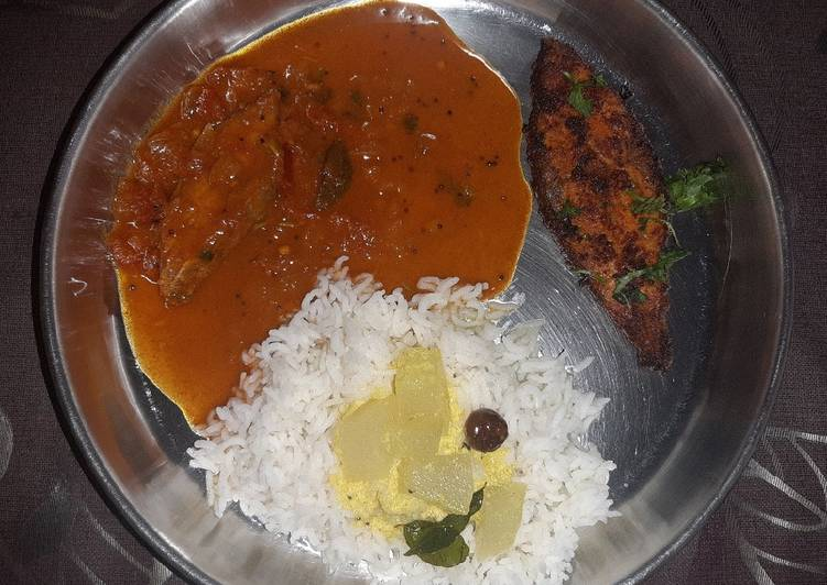 Simple Way to Make Favorite Fish thali Rice with Fish curry fish fry and spiced buttermilk