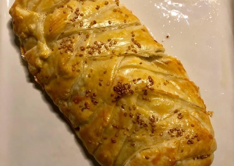 recette Feuilleté tressé à la viande et mozzarella délicieux