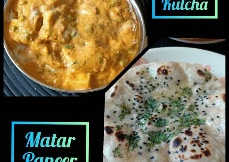 Jain Matar Paneer with Kulcha