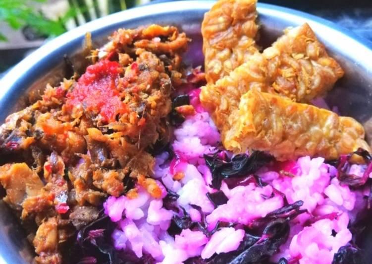 (rice bowl) bayam merah sambel pindang suwir tempe goreng(