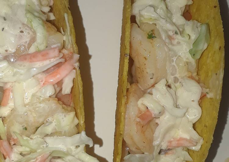 Recipe of Super Quick Homemade Shrimp Tacos w/ Coleslaw