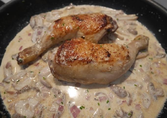 Poulet sauce crème champignons
