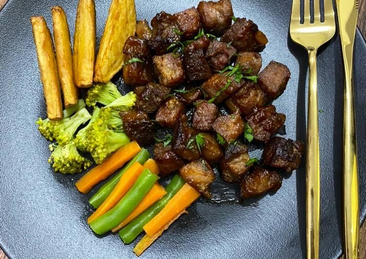 Resep Saikoro Wagyu Cube Butter Steak Bite Oleh Kikie Cookpad