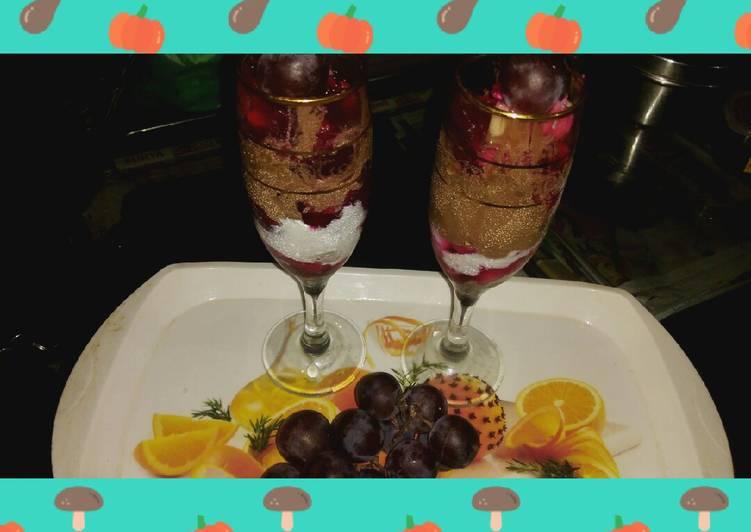 Fruits with Jelly with vanilla ice cream n chocolate ice cream