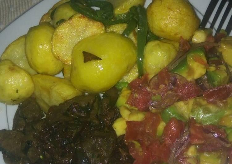 Recipe: Tasty Deep fried potatoes and pan fried liver and kachumbari