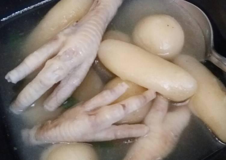 Steps to Make Perfect Cilok Kuah Ceker / Tapioca Balls and Chicken Feet Soup