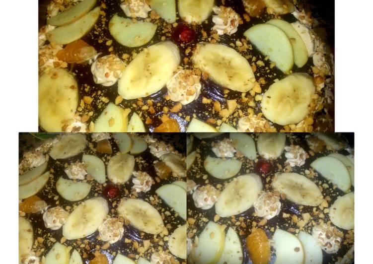 Gâteau au chocolat aux pommes, bananes,l'orange