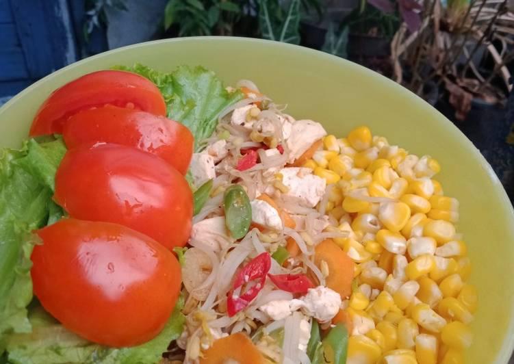 BEKAL DIET (Jagung manis, tumis cambah tahu panggang + lalap)
