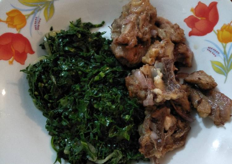 Fried mutton with greens