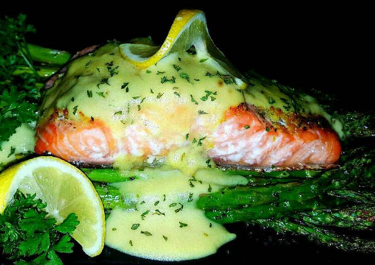 Recipe: Appetizing Mike's EZ Baked Salmon & Asparagus W/ Hollandaise