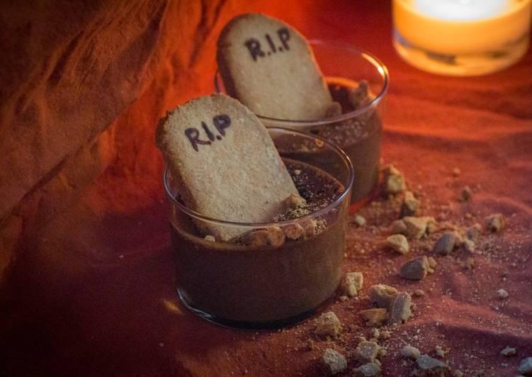 Mini cimetières - mousse au chocolat avec son sablé à l'amande (Sans gluten)