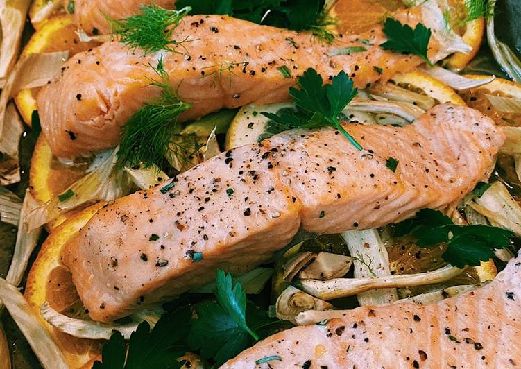 Steps to Make Most Popular Honey pulled salmon with oranges and fennel🧡
