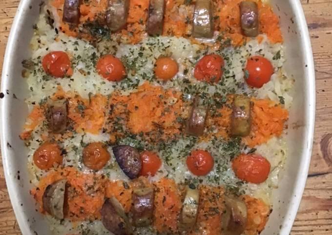Gratin de topinambours et carottes à la saucisse du Jura