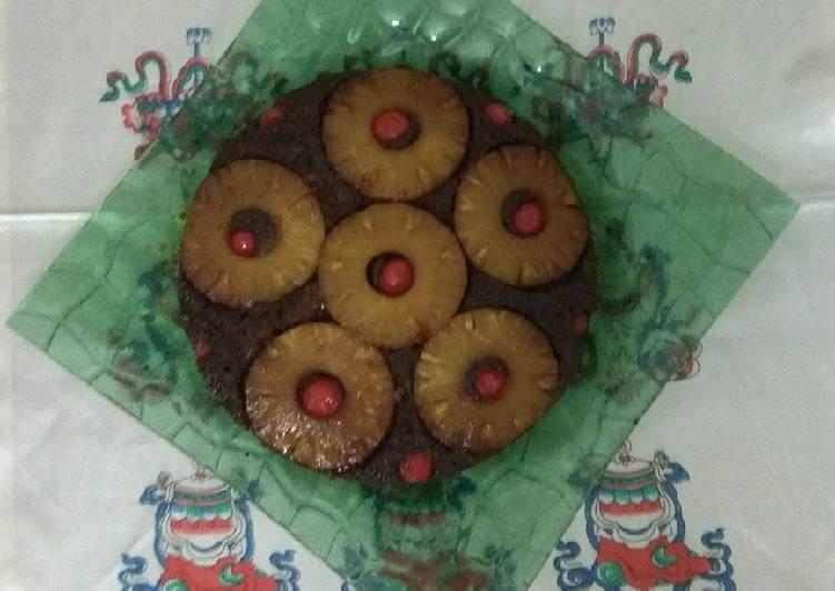 Chocolate Coconut Pineapple upside cake