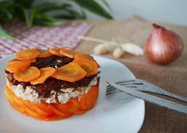 Mille feuille de carottes, colin & compotée oignon chorizo – Epicurious Cookbooks