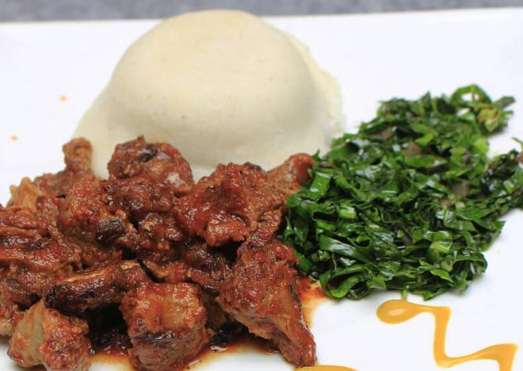 Recipe of Speedy Ugali, Lamb and kales