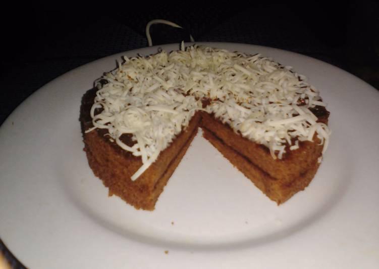 Sponge cake kukus selai coklat 2 telur minimalis