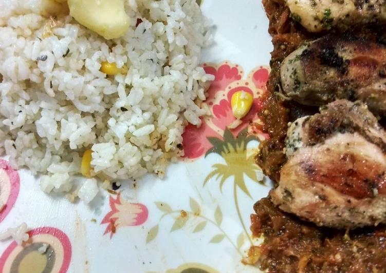 Lemon pepper grilled chicken with salsa sauce garlic butter rice